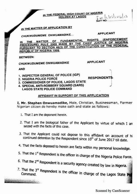 Photos: Court Papers Of Billionaire Kidnap Kingpin, Evans Against IGP, Others Surfaces