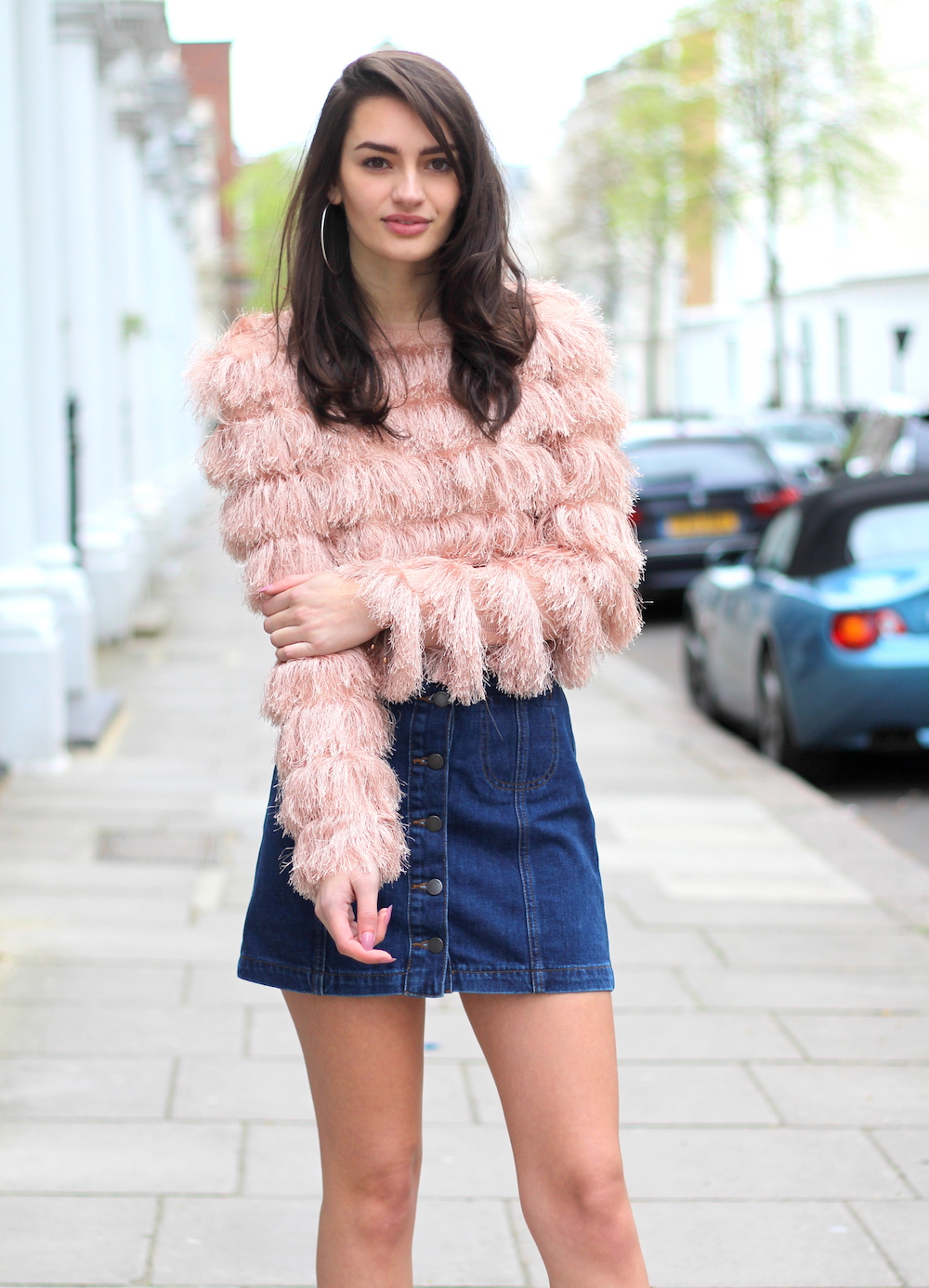 fluffy top denim mini peexo blogger