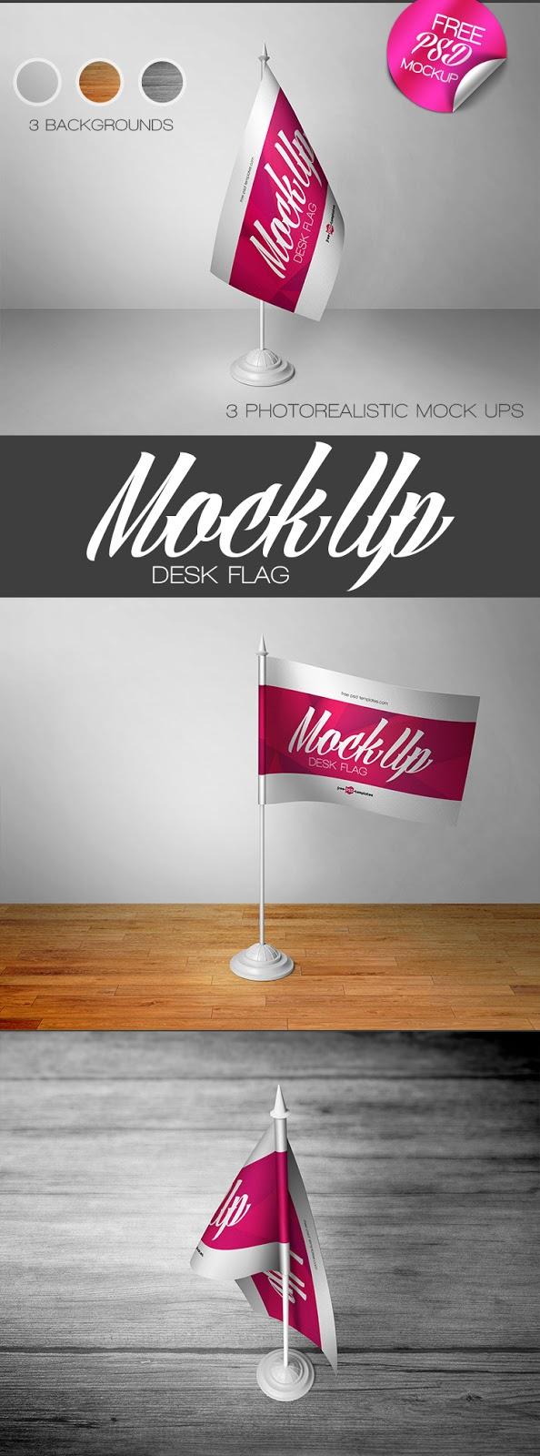 موك اب رائع جدا علم مكتب | 3 desk flag mock-ups in psd