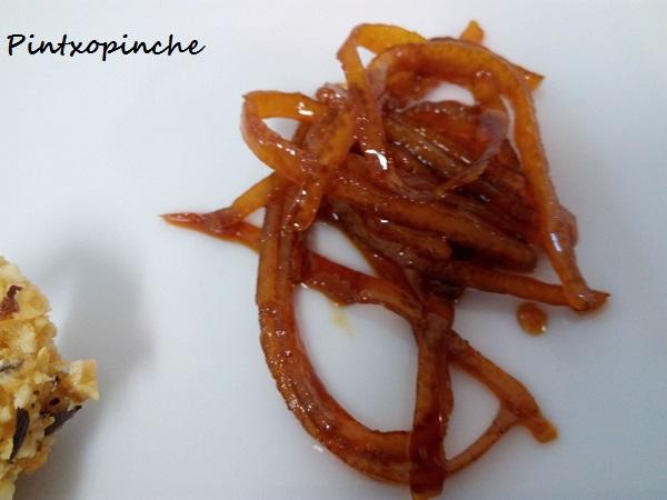lenguado, avellanas, naranjas, soja, tamari, salsa