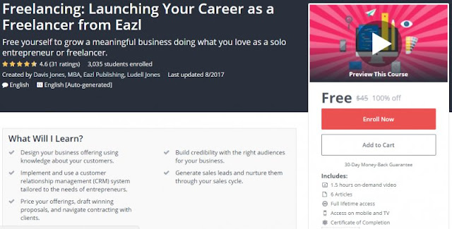 [100% Off] Freelancing: Launching Your Career as a Freelancer from Eazl| Worth 45$
