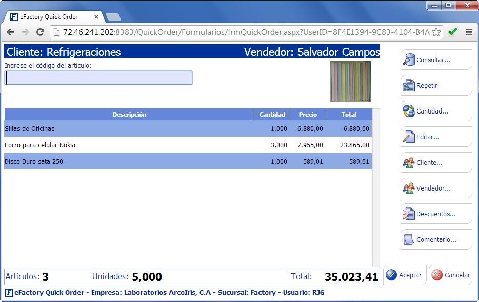 Quick Order: Pantalla principal - Productos Web de eFactory para Móviles y Tabletas