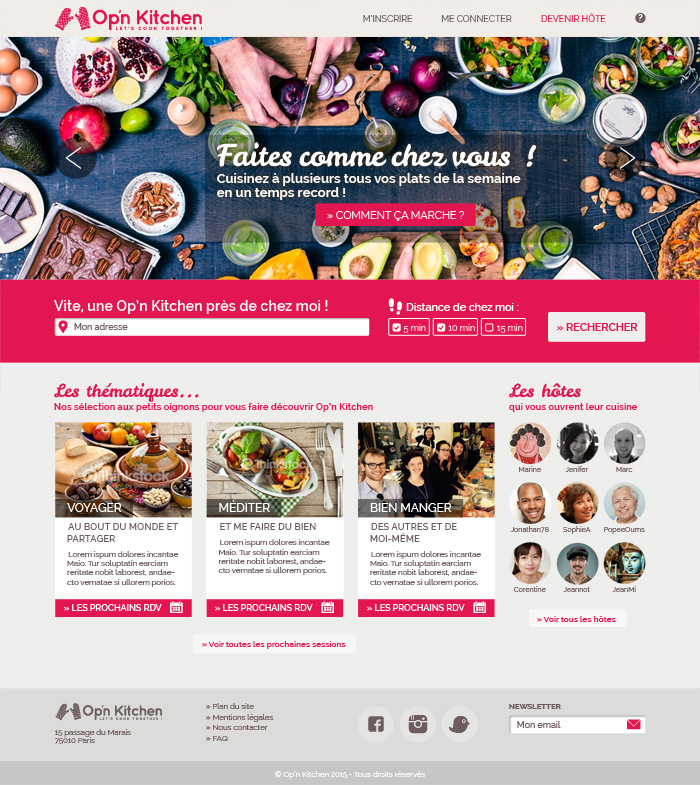 Page d'accueil site Opn Kitchen, graphisme cuisine collaborative Paris