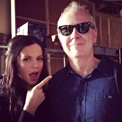Tammin Sursok (Jenna) with PLL director Norman Buckley filming 7x05