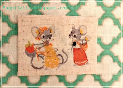 Patchwork, Pillowcase, modern, Puppilalla, Applique, fussy cut close up