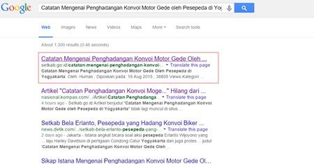Halaman artikel Setkab tentang konvoi moge Yogyakarta hilang