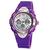 WISE® Kids Girls Watches, Dual Time Colorful Dial Waterproof 100m Sports Casual Wrist Watches with Bling Bling Moon Star Pattern 2001ad Purple