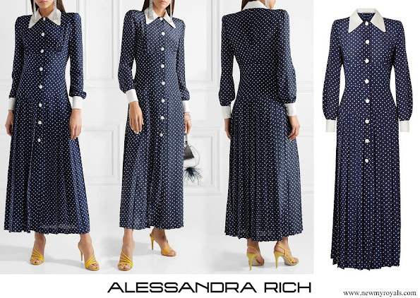 Kate Middleton wore Alessandra Rich Pleated polka-dot silk crepe de chine midi dress
