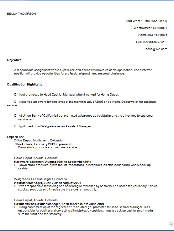 Head Cashier Manager Sample Resume Format in Word Free Download - cashier manager sample resume