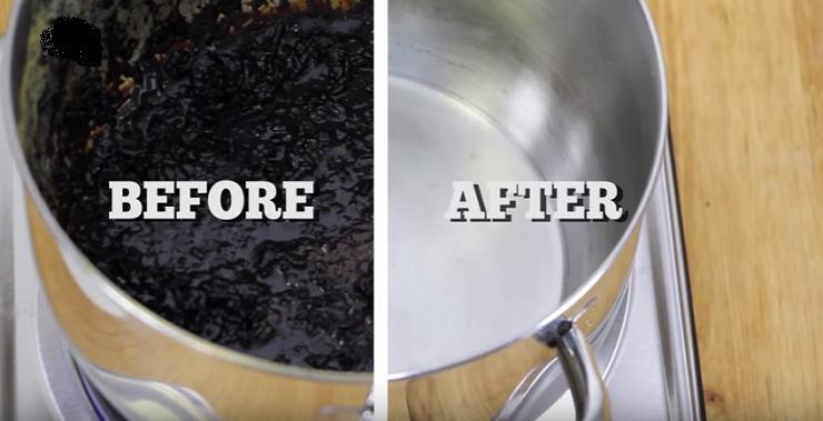 شاهدي كيفية تنظيف إناء محترق دون فرك بسهولة خلال دقيقتين .. رووعة ومجربة بالفيديو