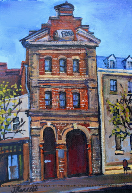 plein air oil painting of heritage Bond Store Millers Point by industrial heritage artist Jane Bennett
