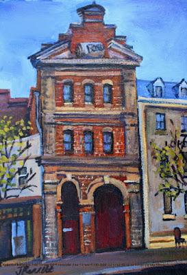 plein air oil painting of heritage Bond Store Millers Point by industrial heritage artist Jane Bennett