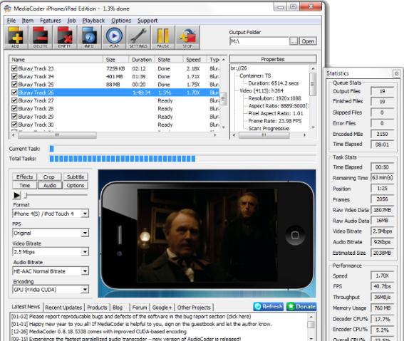 تحميل برنامج تحويل الفيديو MediaCoder iPhone iPad iPod