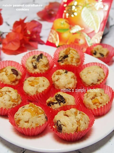 resep raisin peanut cornflakes cookies
