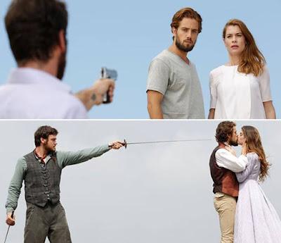 Na cena de Além do Tempo, vemos Pedro, o vilão, ameaçando o romance de Felipe e Lívia, interpretada por Alinne Moraes