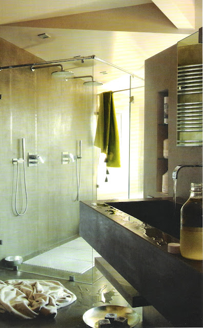 Contemporary shower and concrete trough sink, Côté Sud Aout-Sept 2006, edited by lb for linenandlavender.net