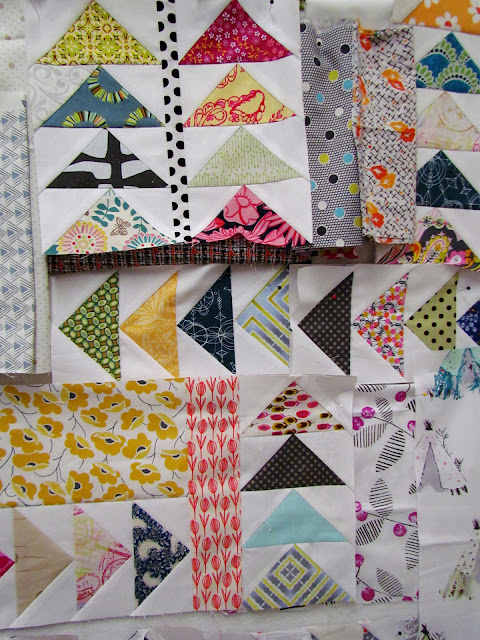 Improv Flying Geese - a work-in-progress quilt on the design wall