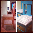 Recycled Chairs: Wooden Chairs Turned Teal & Chevron