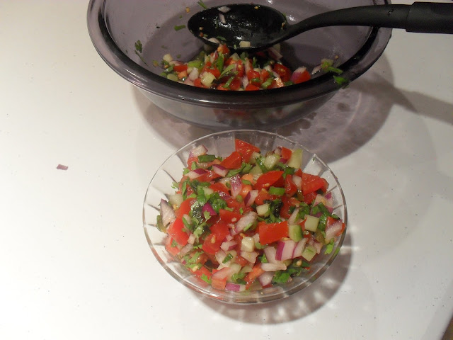 Bowl of fresh Cucumber and Tomato Salsa