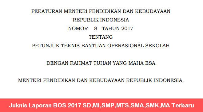 Juknis Laporan BOS 2017 SD,MI,SMP,MTS,SMA,SMK,MA Terbaru