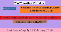 National Remote Sensing Centre Recruitment 2018– 37 Scientist/Engineer & Scientific Assistant