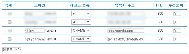 블로그스팟 타사 도메인 설정 cname