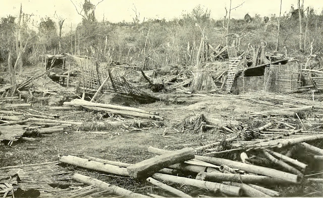 The remnants of the village of Subic, in the zone of partial destruction.  The chief damage in this village was caused by a great wave which swept inland from Bombon Lake.