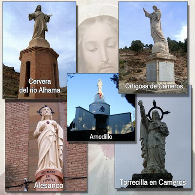 Monumentos al Sagrado Corazón en La Rioja: Cervera, Ortigosa, Arnedillo, Alesanco, Torrecilla