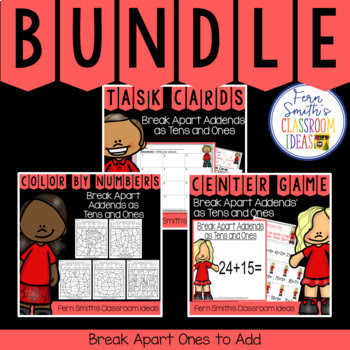 Break Apart Addends as Tens and Ones Bundle has task cards, color by number printables and center games for Second Grade Go Math 4.3 Break Apart Addends as Tens and Ones. You will love how easy it is to prepare this easy to prep bundle for your math class. Perfect for small groups, read the room, centers, scoot, tutoring, Around the World whole class game, homework, seat work, so many ways to use these task cards that the possibilities are endless. Your students will enjoy the freedom of independent learning with these color by code worksheets and reviewing important skills with the center games! Perfect for an assessment grade for the week or for a substitute teacher day!