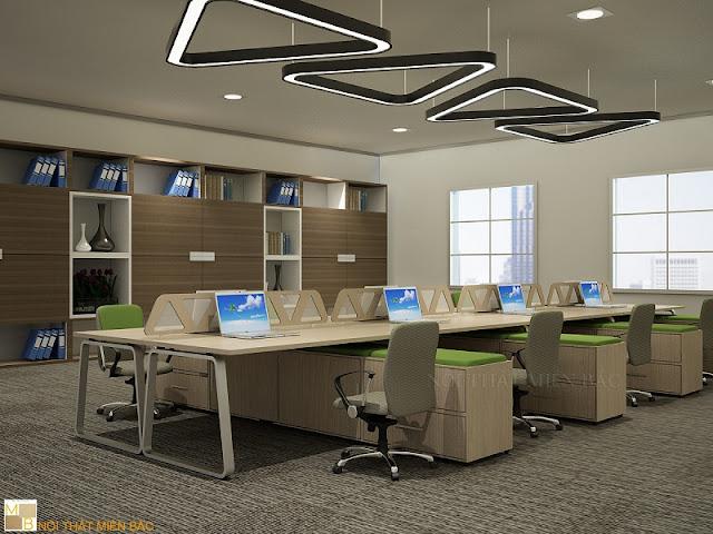 Mẫu bàn làm việc veneer được bao phủ bởi một lớp gỗ tự nhiên song với phần chân bàn được thiết kế năng động, hiện đại