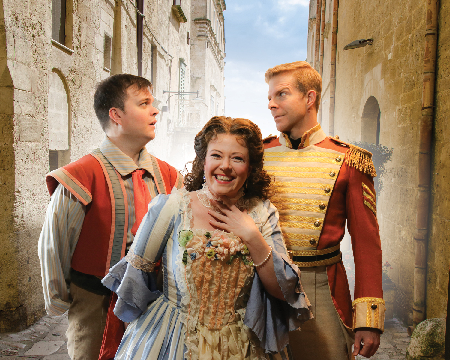 IN REVIEW: (from left to right) tenor DAVID BLALOCK as Nemorino, soprano JODI BURNS as Adina, and baritone GREGORY GERBRANDT as Belcore in Piedmont Opera's March 2019 production of Gaetano Donizetti's L'ELISIR D'AMORE [Photograph © Mariedith Appanaitis / Piedmont Opera]