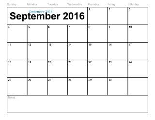 Free Printable Calendar September 2016