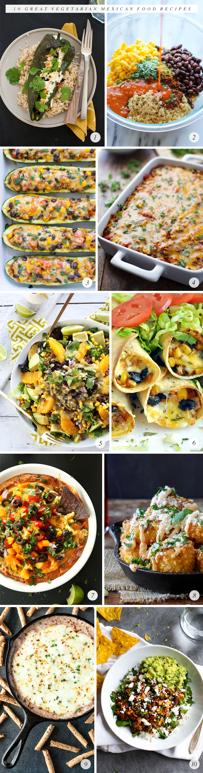 10 Great Vegetarian Mexican Food Recipes (Bubby and Bean)