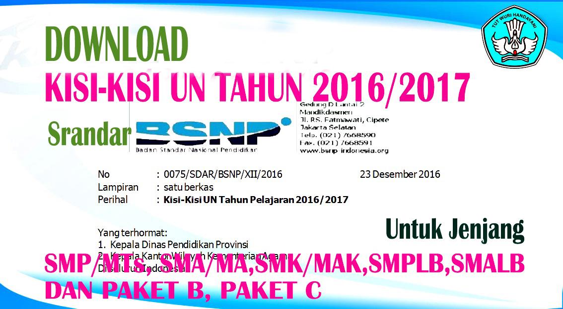 Kisi Kisi Ujian Nasional Un Stadar Bsnp Tahun Pelajaran 2016 2017 Smp Mts Edukasi Suwoyo Com