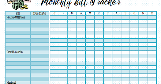 FREE Planner Addict Bill Tracker.. Print, resize and keep track for the year