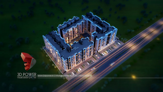 3D Apartment rendering Night View