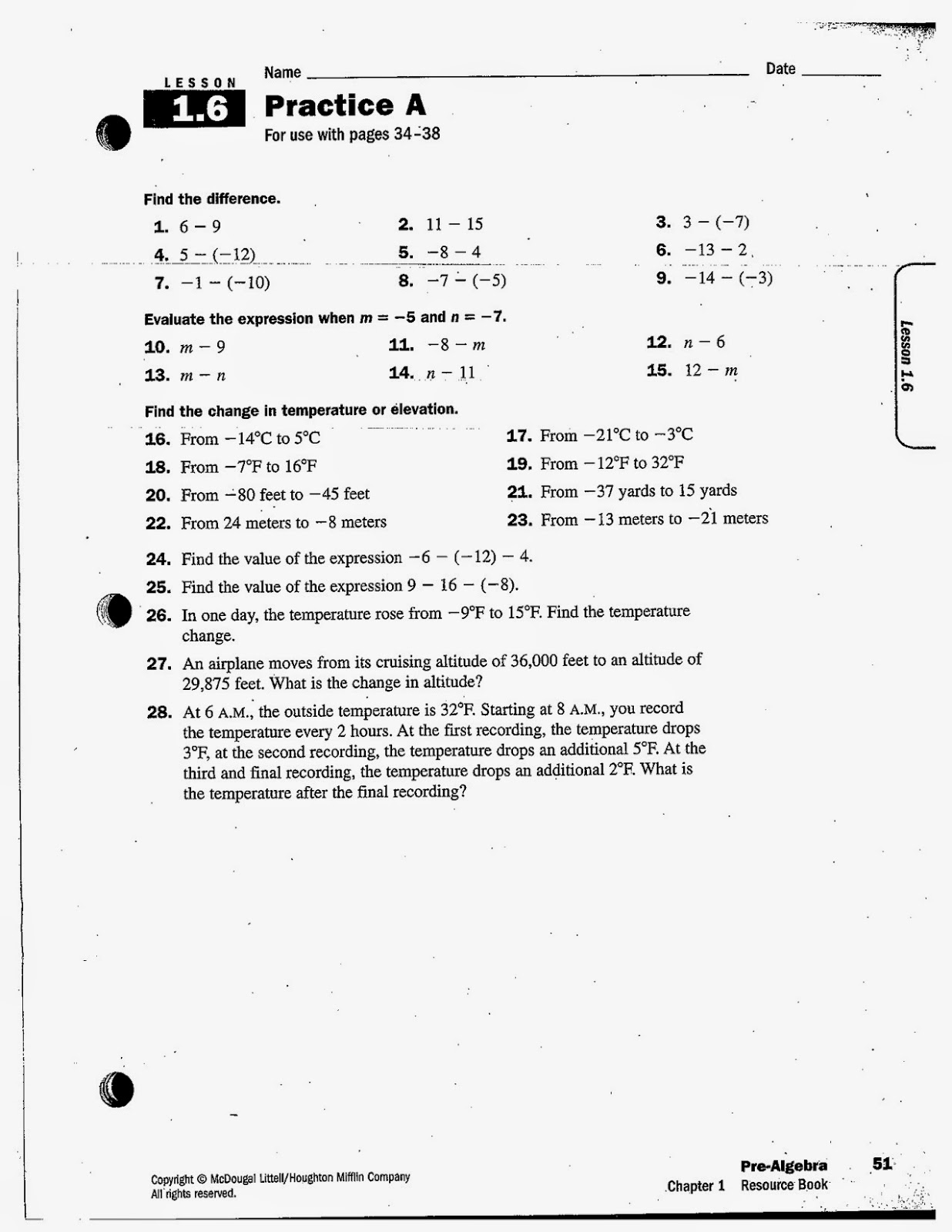Heidemann 8th Grade Math Pre Algebra Notes And Hw For