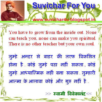 Suvichar For You: Swami vivekanand suvichar in hindi and english