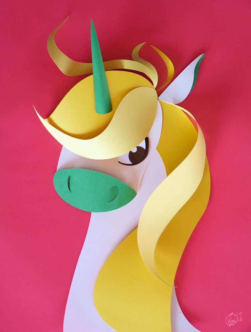 Licorne en papier découpé. Unicorne papercut, pink, rose