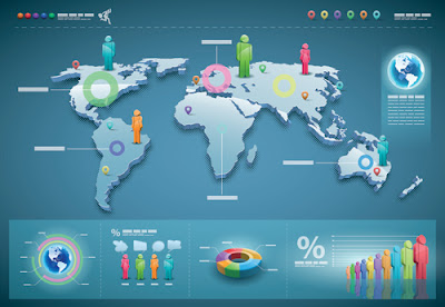 World Map with Infographic vector