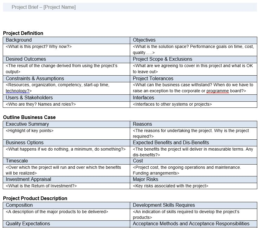 Prince2 How2 A Brief Prince2 Project Brief Template