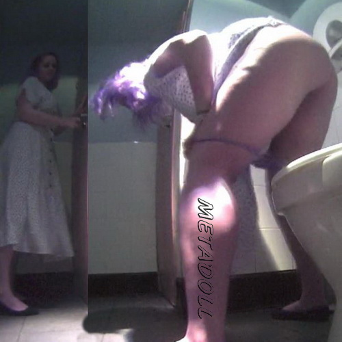 College girls pissing in a fast food toilet - hidden camera (Fast Food Toilet 15)