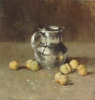 Magnificent still life painting of silver pitcher and golden apples by Emil Carlsen Soren