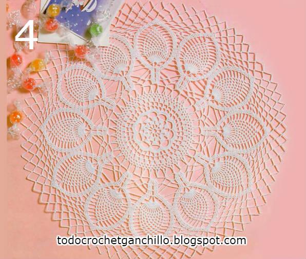 carpeta redonda con punto piñas para tejer con ganchillo esquema