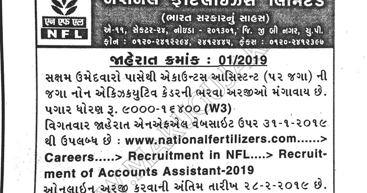 National Fertilizer Limited (NFL) Recruitment for
