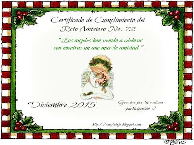 Certificado del reto amistoso 72