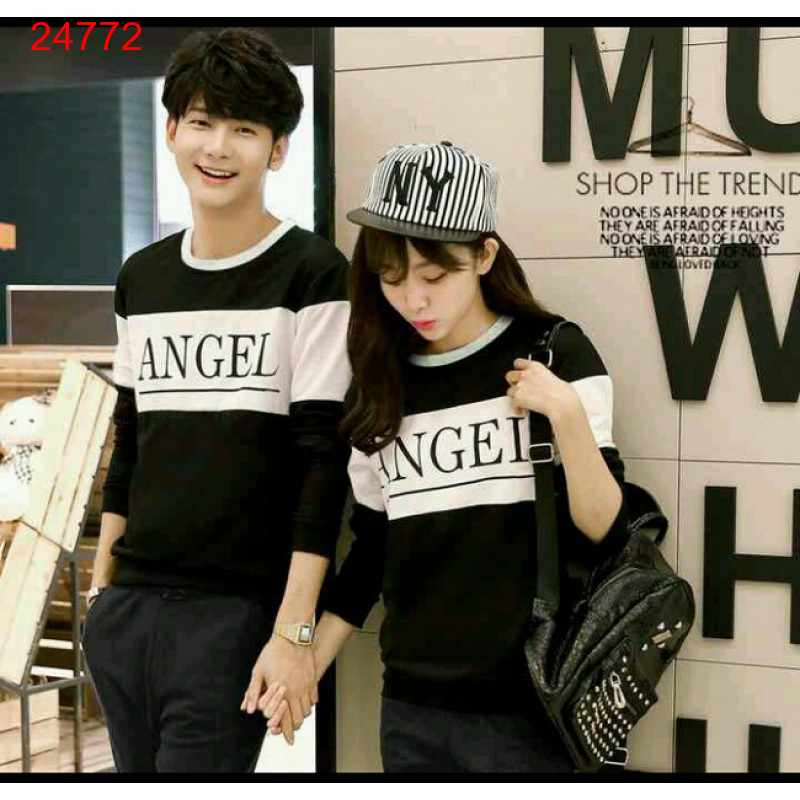Jual Sweater Couple Sweater Angel Black White - 24772
