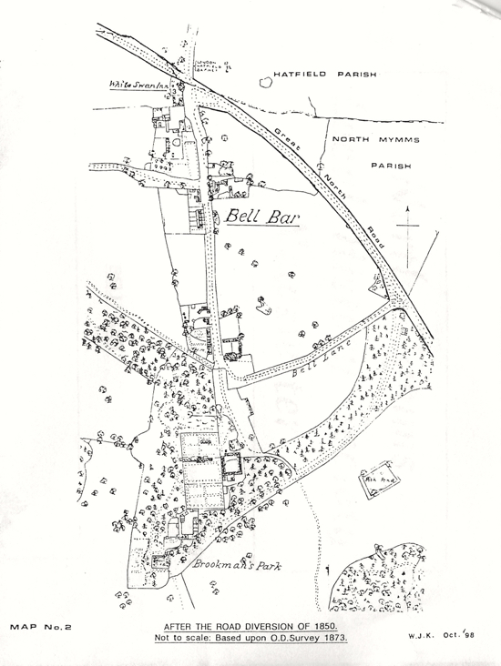 Map 2 - scan map which is based on  the OS map for 1873 showing Bell Bar after the road diversion of 1850 Image from Bill Killick