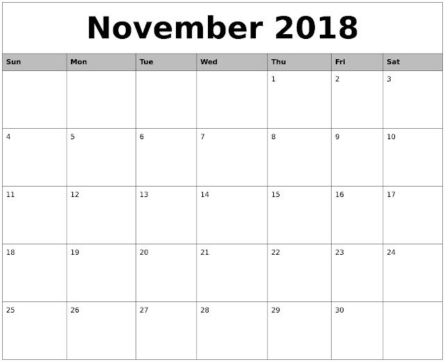 November 2018 Calendar Editable Printable