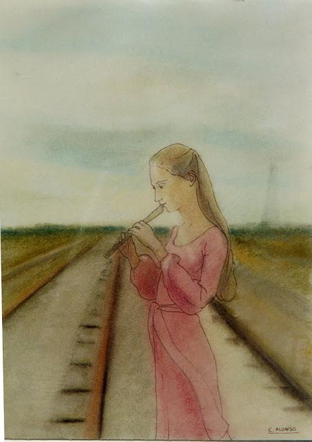 Cristina Alonso arte original acuarela chica tocando la flauta musical